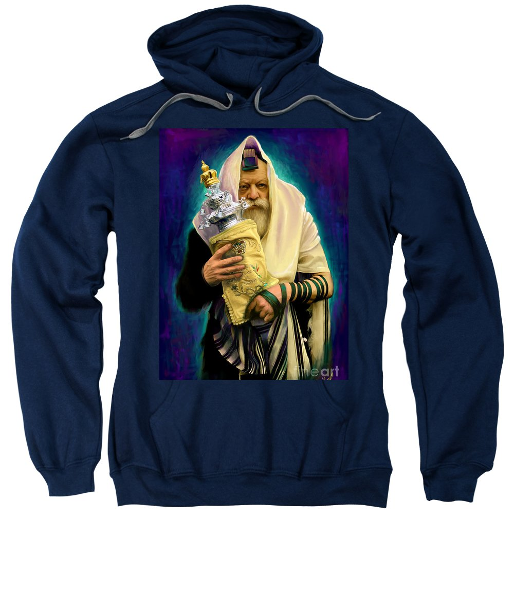 Lubavitcher Sweatshirt featuring the painting Lubavitcher Rebbe With Torah by Sam Shacked