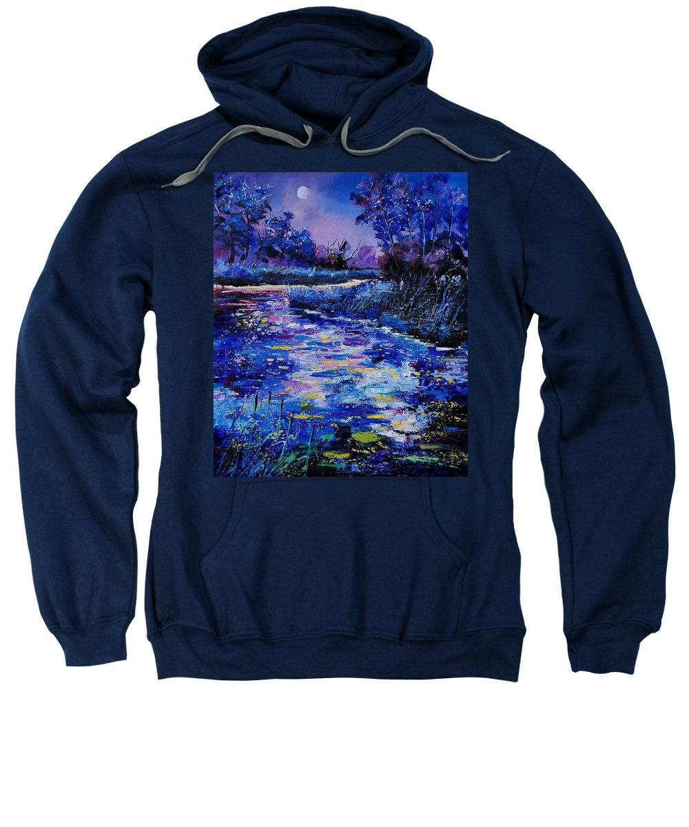 River Sweatshirt featuring the painting Magic Pond by Pol Ledent