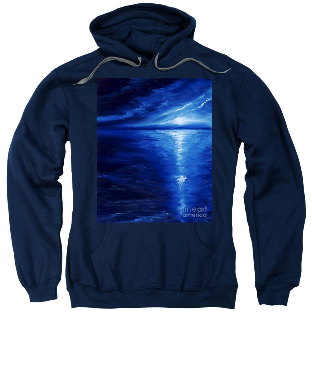Blue Moon Sweatshirt featuring the painting Magical Moonlight by James Christopher Hill