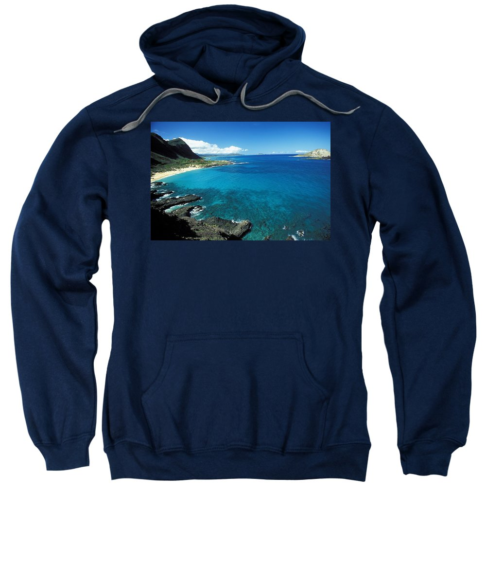 Bay Sweatshirt featuring the photograph Makapuu Beach Park by Peter French - Printscapes