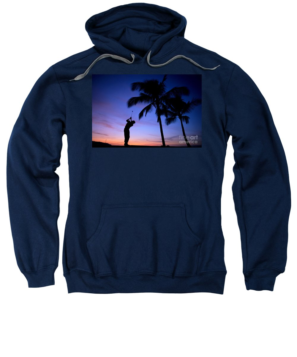 A17c Sweatshirt featuring the photograph Man Swinging Driver by Kyle Rothenborg - Printscapes