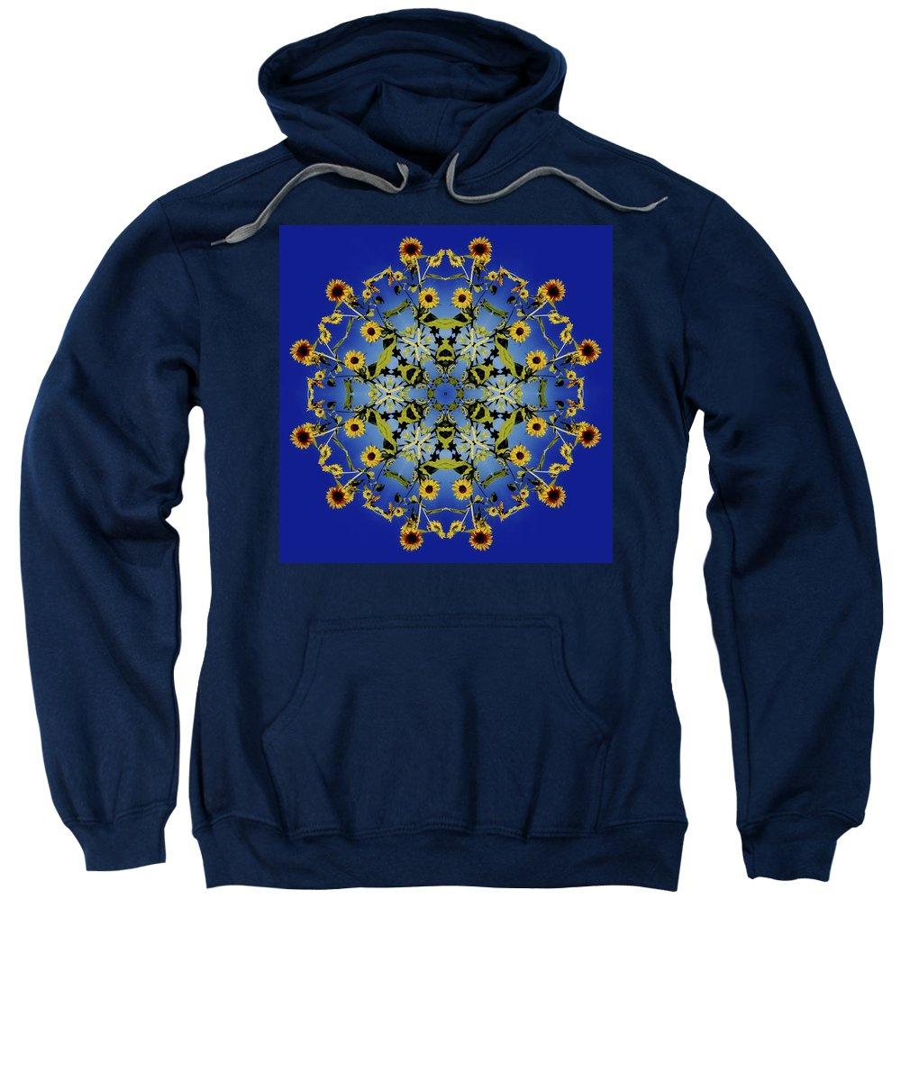 Mandala Sweatshirt featuring the digital art Mandala Sunflower by Nancy Griswold