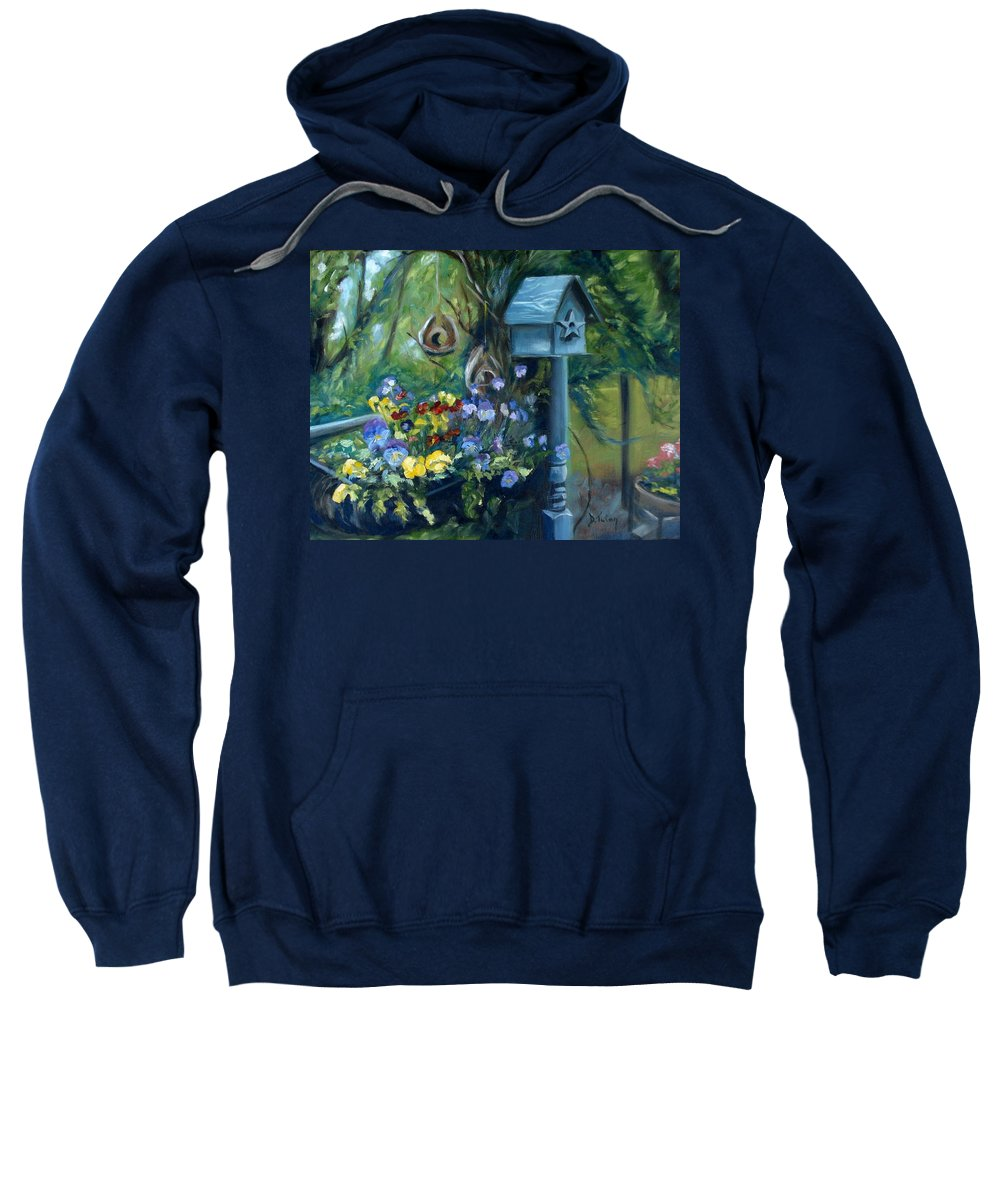 Flower Sweatshirt featuring the painting Marcia's Garden by Donna Tuten
