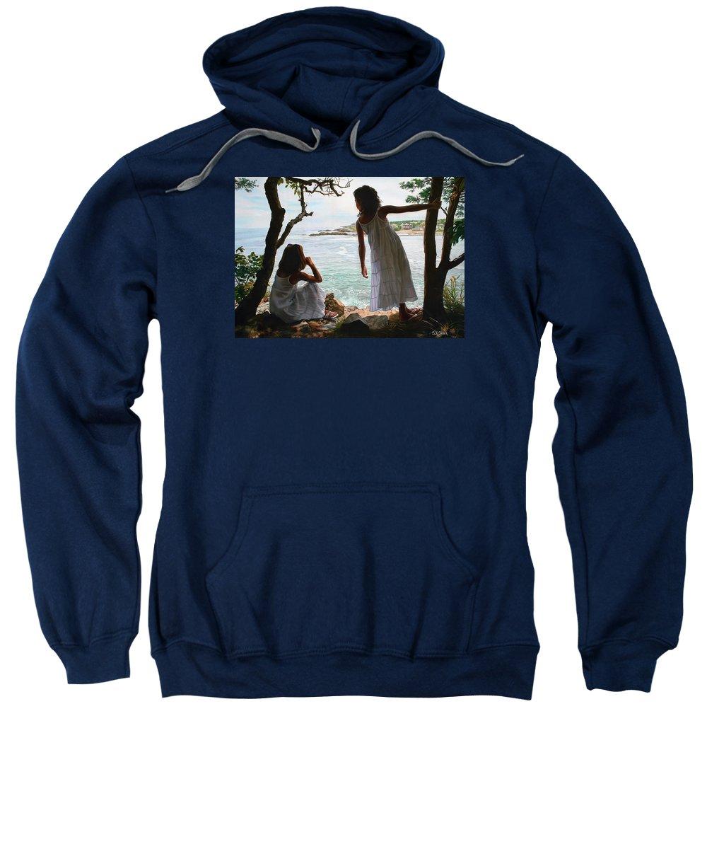 Figurative Sweatshirt featuring the painting Marginal Way by Tom Sierak