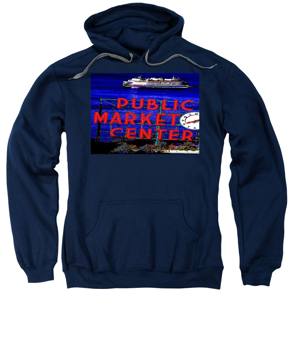 Seattle Sweatshirt featuring the photograph Market Clock And Ferry by Tim Allen