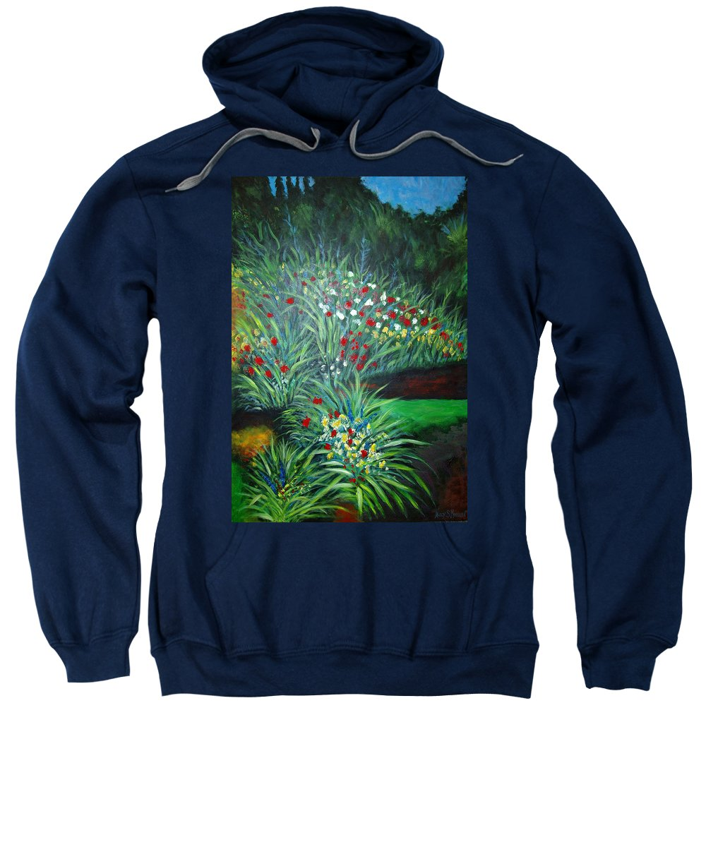 Landscape Sweatshirt featuring the painting Maryann's Garden 3 by Nancy Mueller