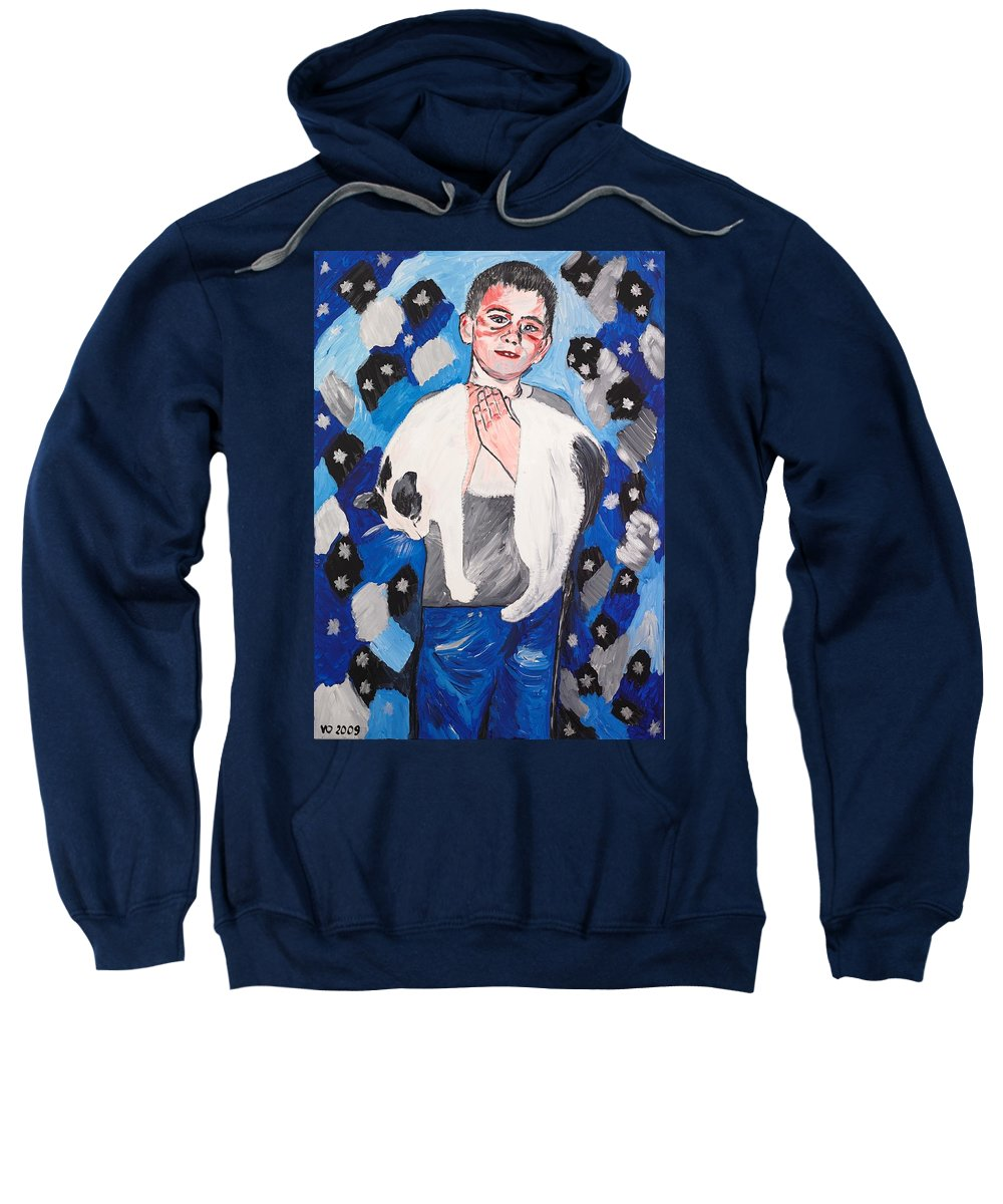 Portrait Sweatshirt featuring the painting Max Holding Snowflake by Valerie Ornstein