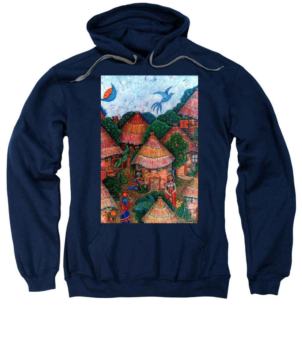 Africa Sweatshirt featuring the painting Maybe That Was My Country by Madalena Lobao-Tello