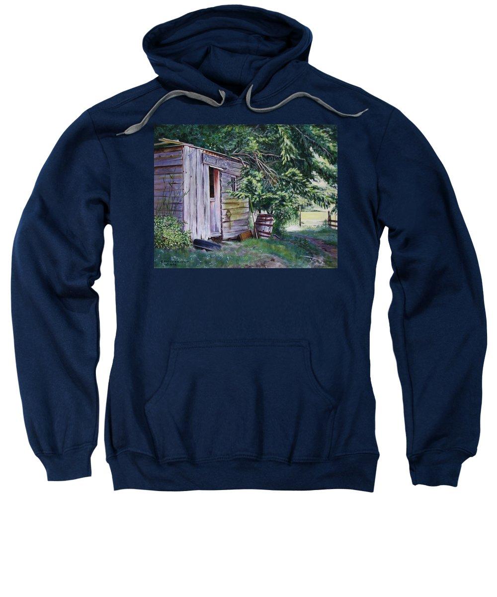 Landscape Sweatshirt featuring the painting Mayne Island Sawmill by Elaine Booth-Kallweit