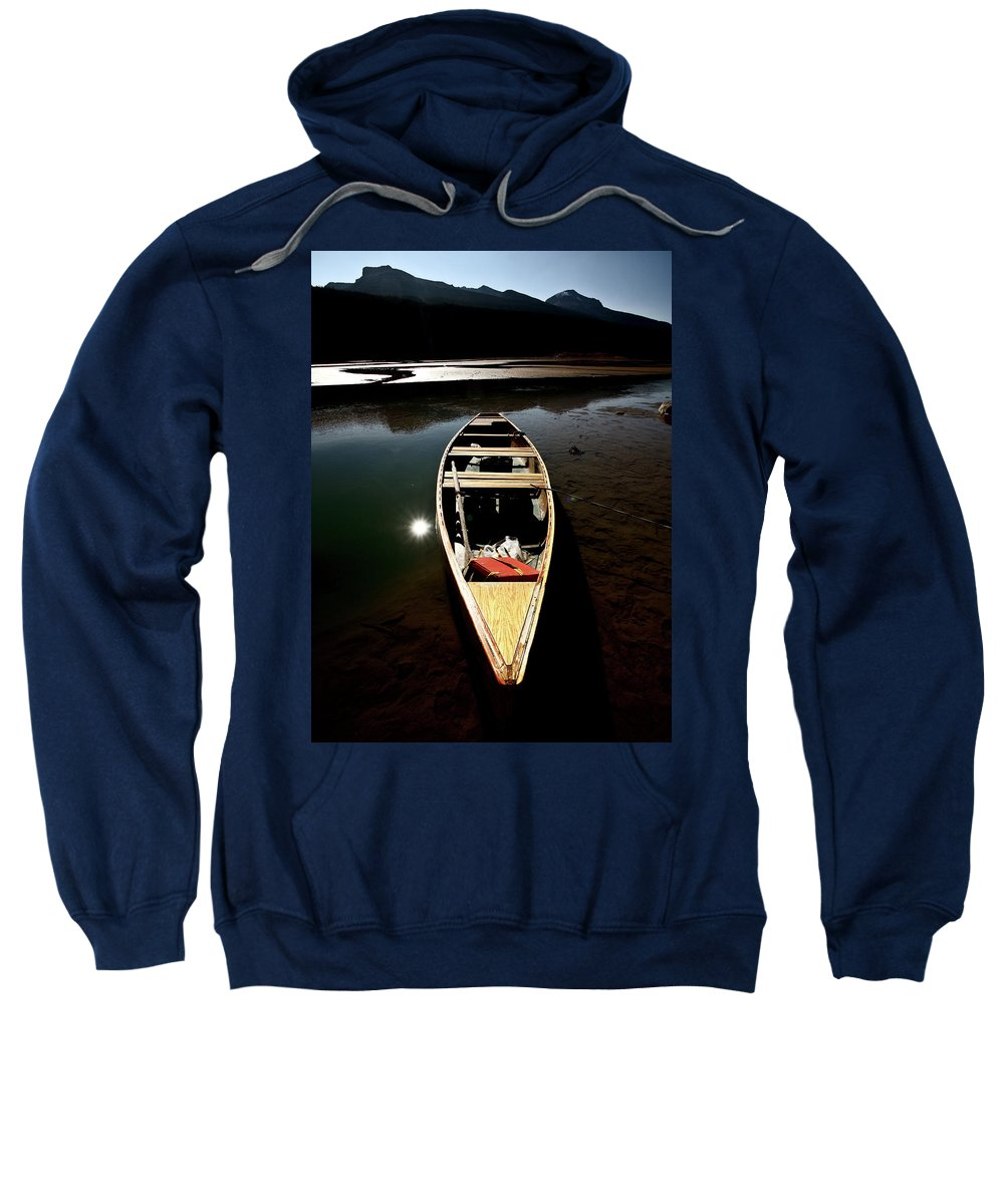 Medicine Lake Sweatshirt featuring the digital art Medicine Lake In Jasper National Park by Mark Duffy