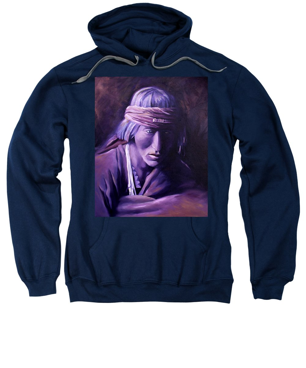 Native American Sweatshirt featuring the painting Medicine Man by Nancy Griswold