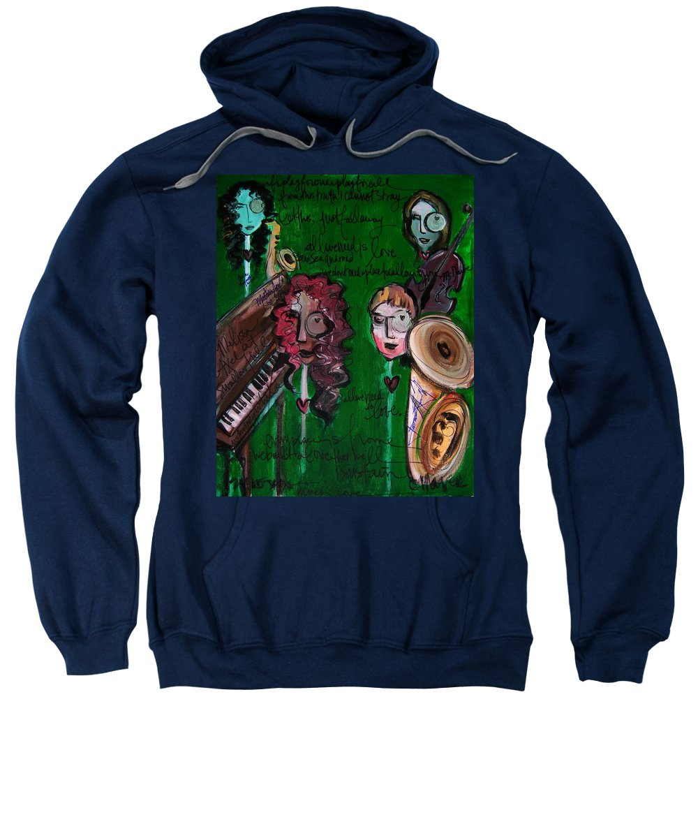 Melissa Axel Music Sweatshirt featuring the painting Melissa Axel At Swallow Hill by Laurie Maves ART