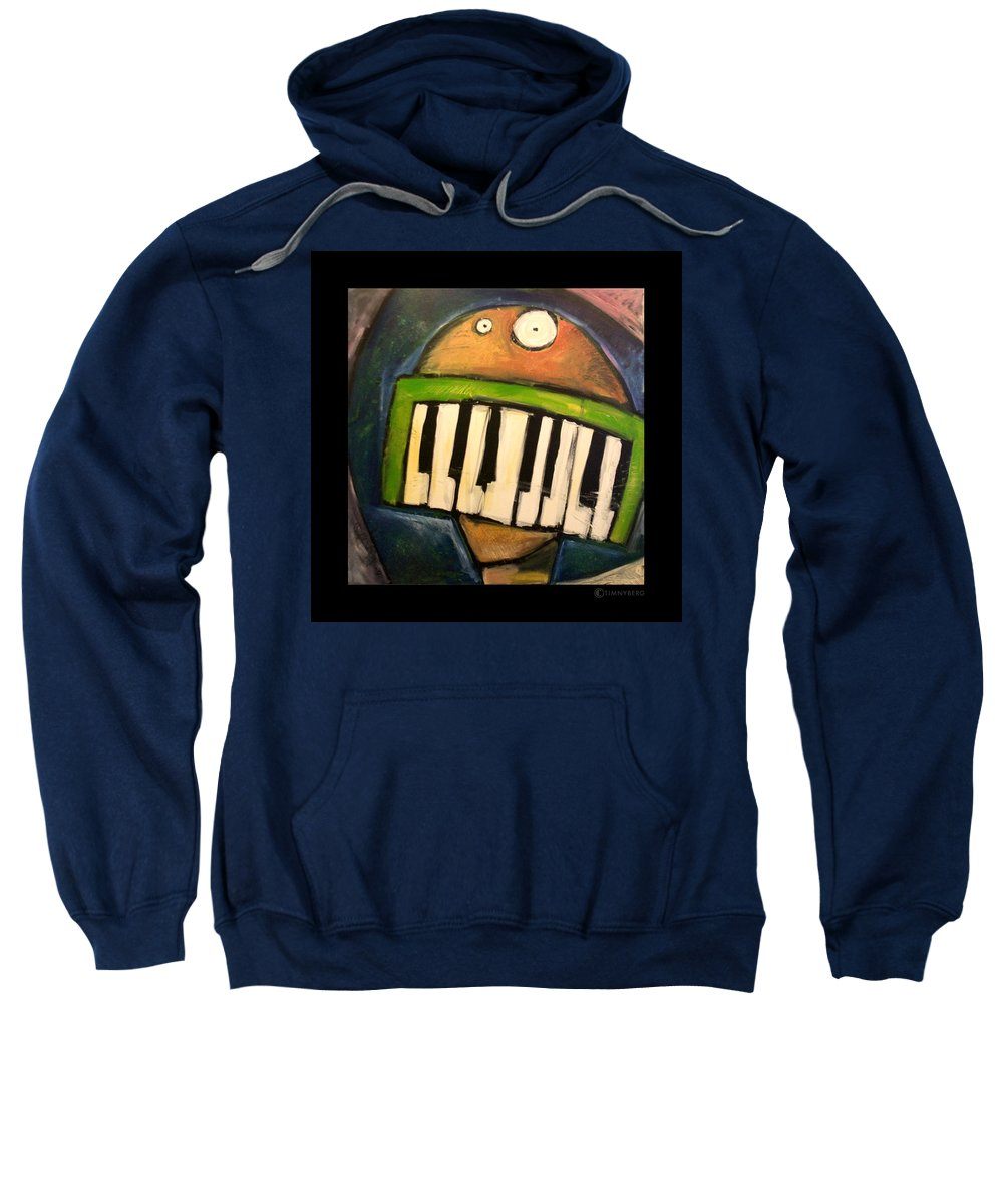 Funny Sweatshirt featuring the painting Melodica Mouth by Tim Nyberg