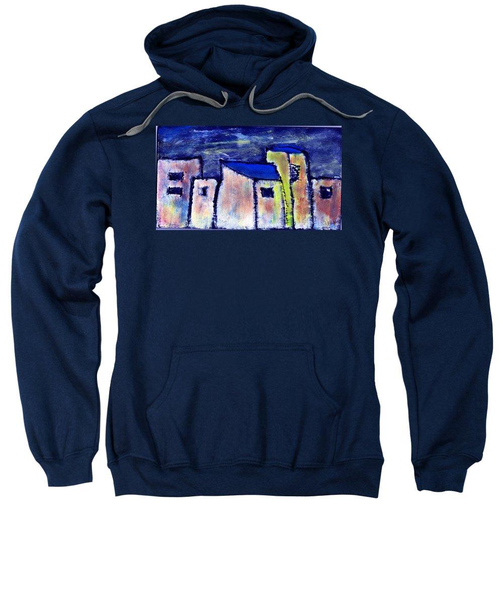 Buidings Sweatshirt featuring the painting Memories by Wayne Potrafka