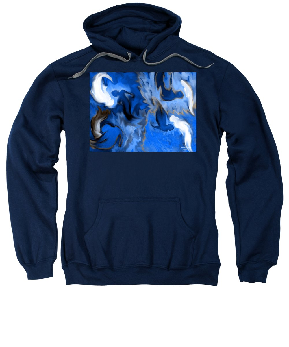 Mermaids Sweatshirt featuring the digital art Mermaids by Shelley Jones