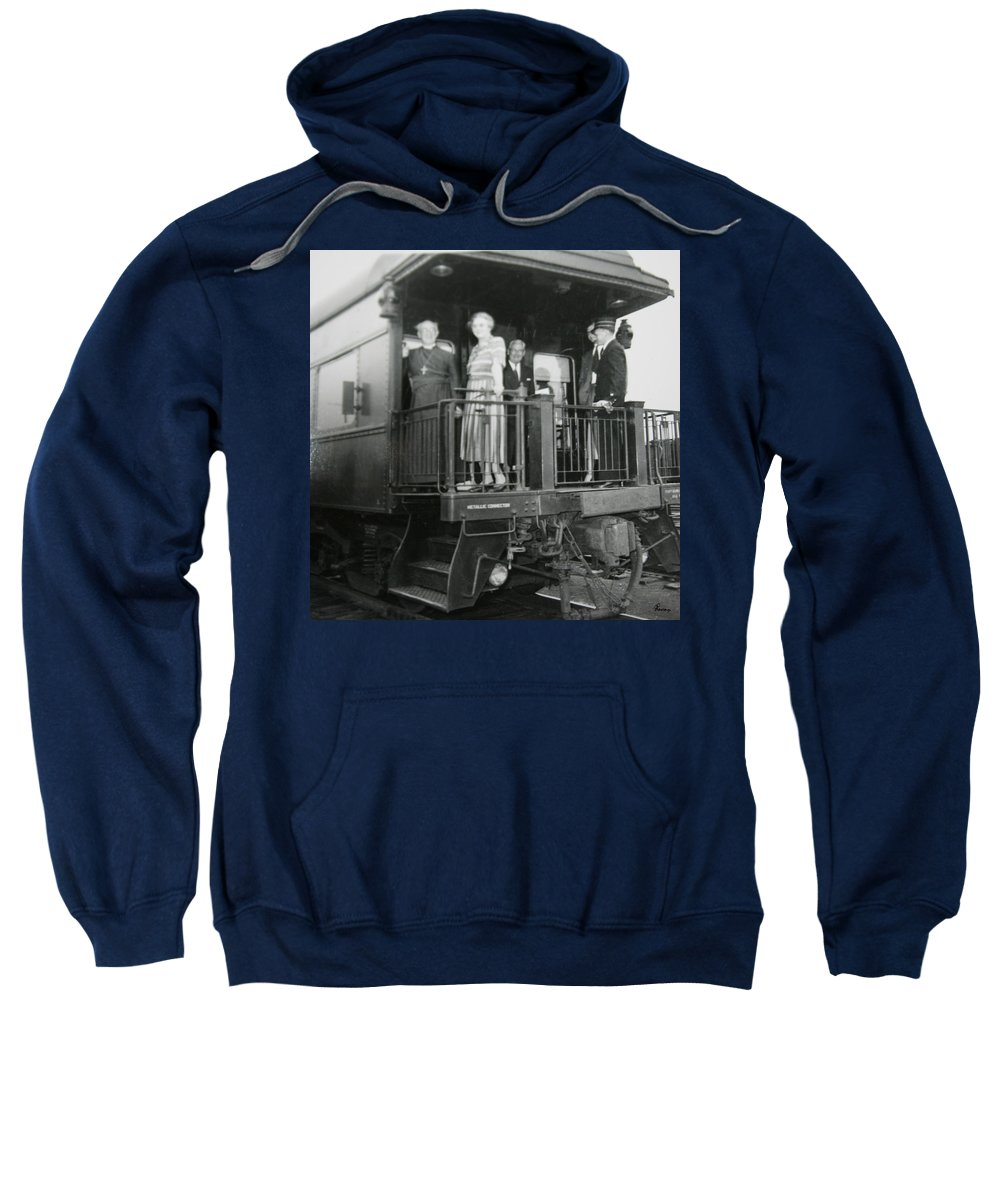 Old Train Rail Car Classic Caboose Transportation Black And White Photograph 1950s Sweatshirt featuring the photograph Metallic Connection by Andrea Lawrence