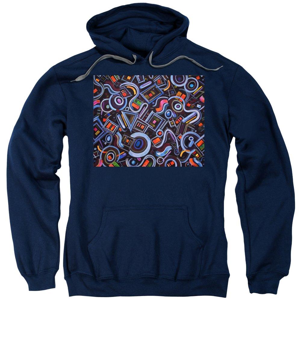 Biomorphic Sweatshirt featuring the painting Metrimorphic Lll by Lynda Lehmann