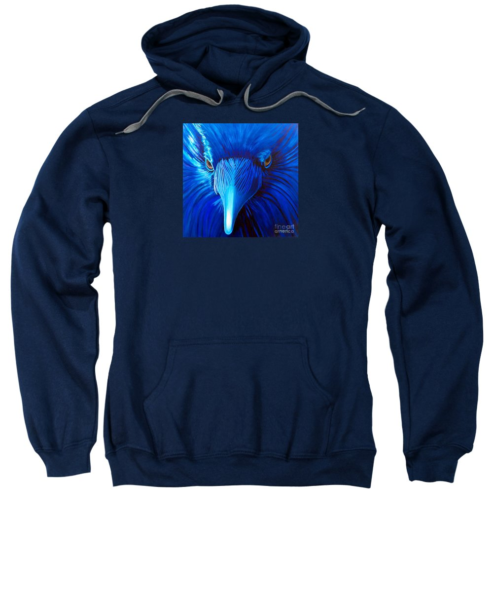 Raven Sweatshirt featuring the painting Midnight Magic by Brian Commerford