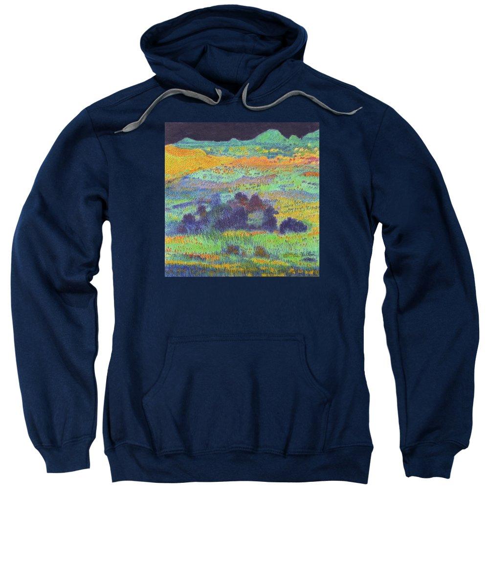 Norh Dakota Sweatshirt featuring the painting Midnight Prairie Dream by Cris Fulton