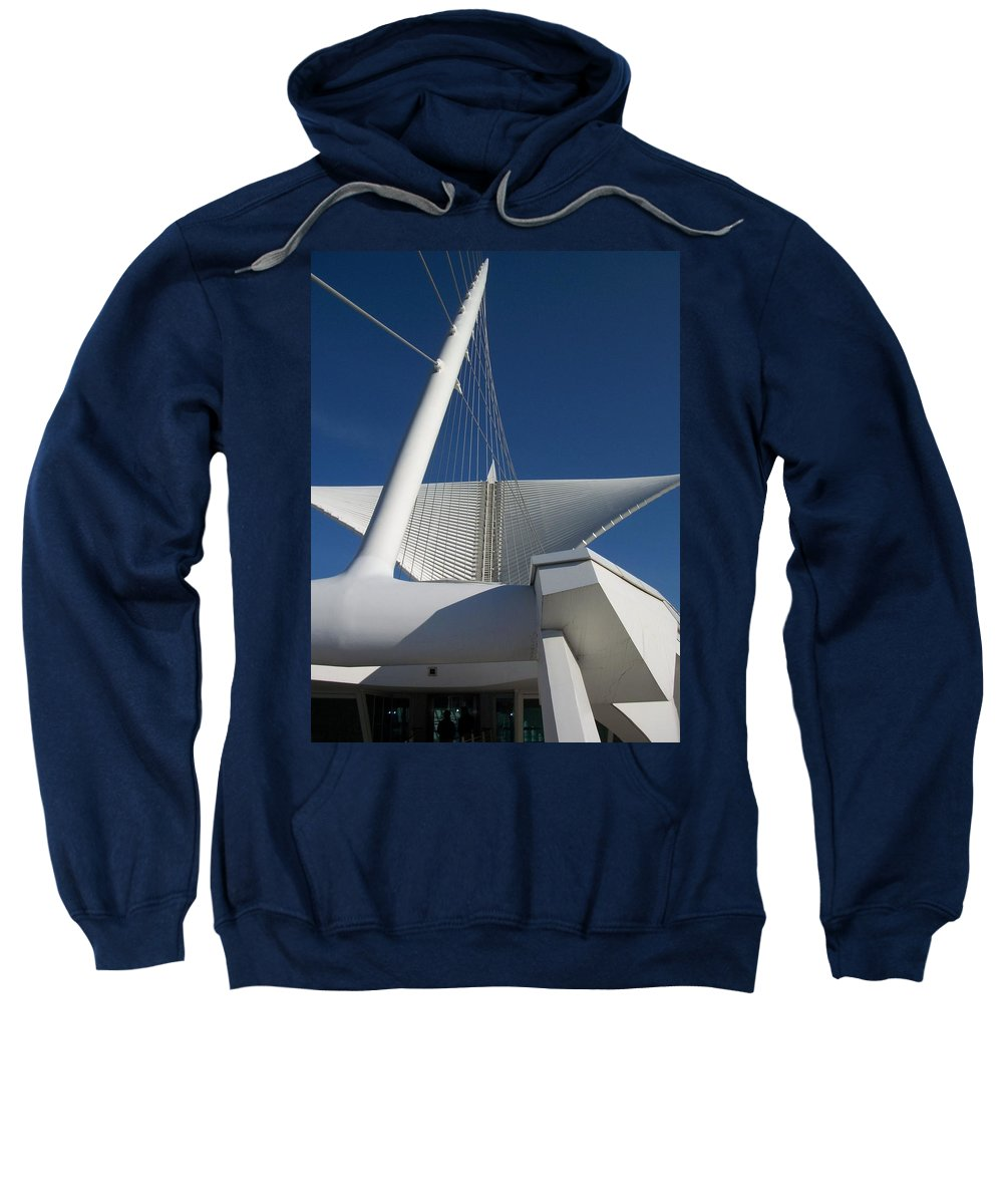Mam Sweatshirt featuring the photograph Milwaukee Art Museum Cropped by Anita Burgermeister