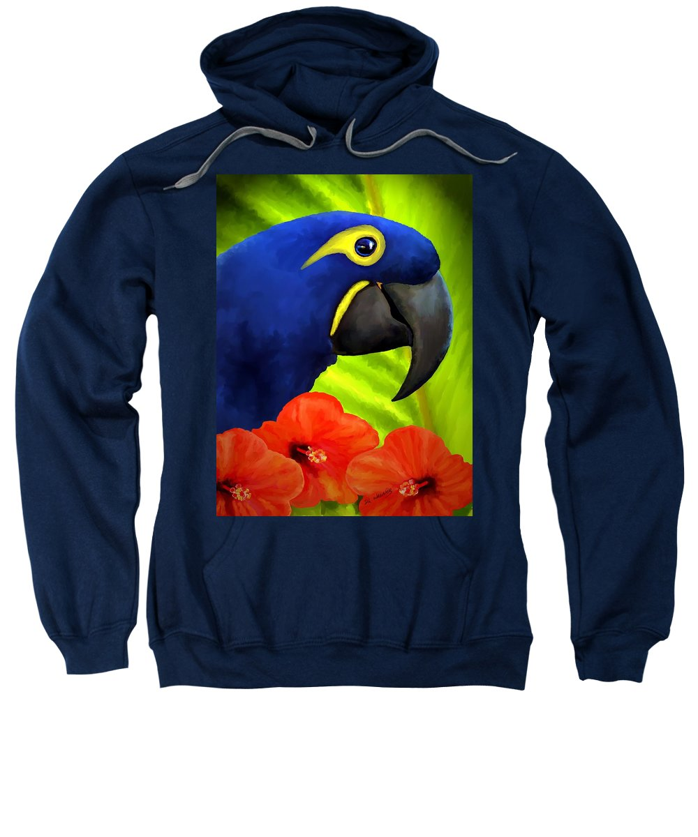 Hyacinth Macaw Sweatshirt featuring the painting Mimi by David Wagner