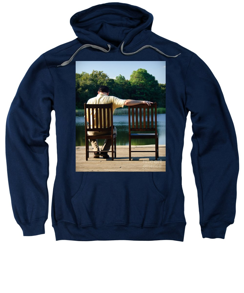 Alone Sweatshirt featuring the photograph Missing Her by Charles Dobbs