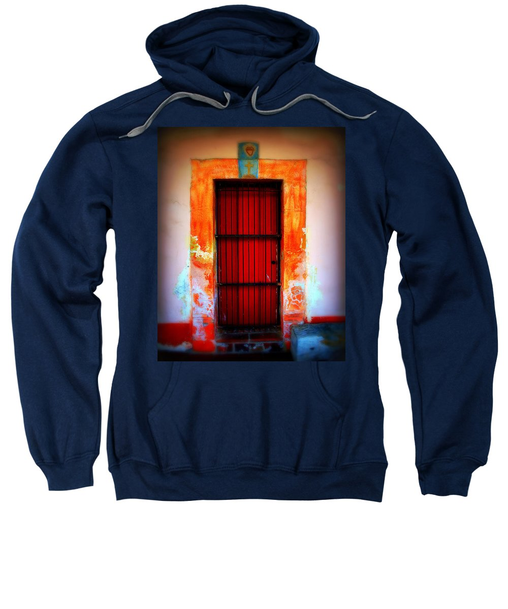 Door Sweatshirt featuring the photograph Mission Red Door by Perry Webster