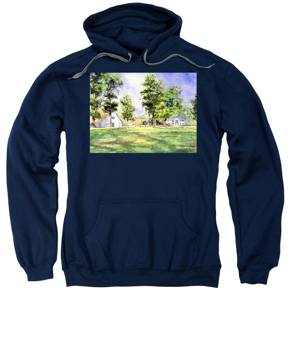 Mission San Luis Sweatshirt featuring the painting Mission San Luis by Bill Holkham