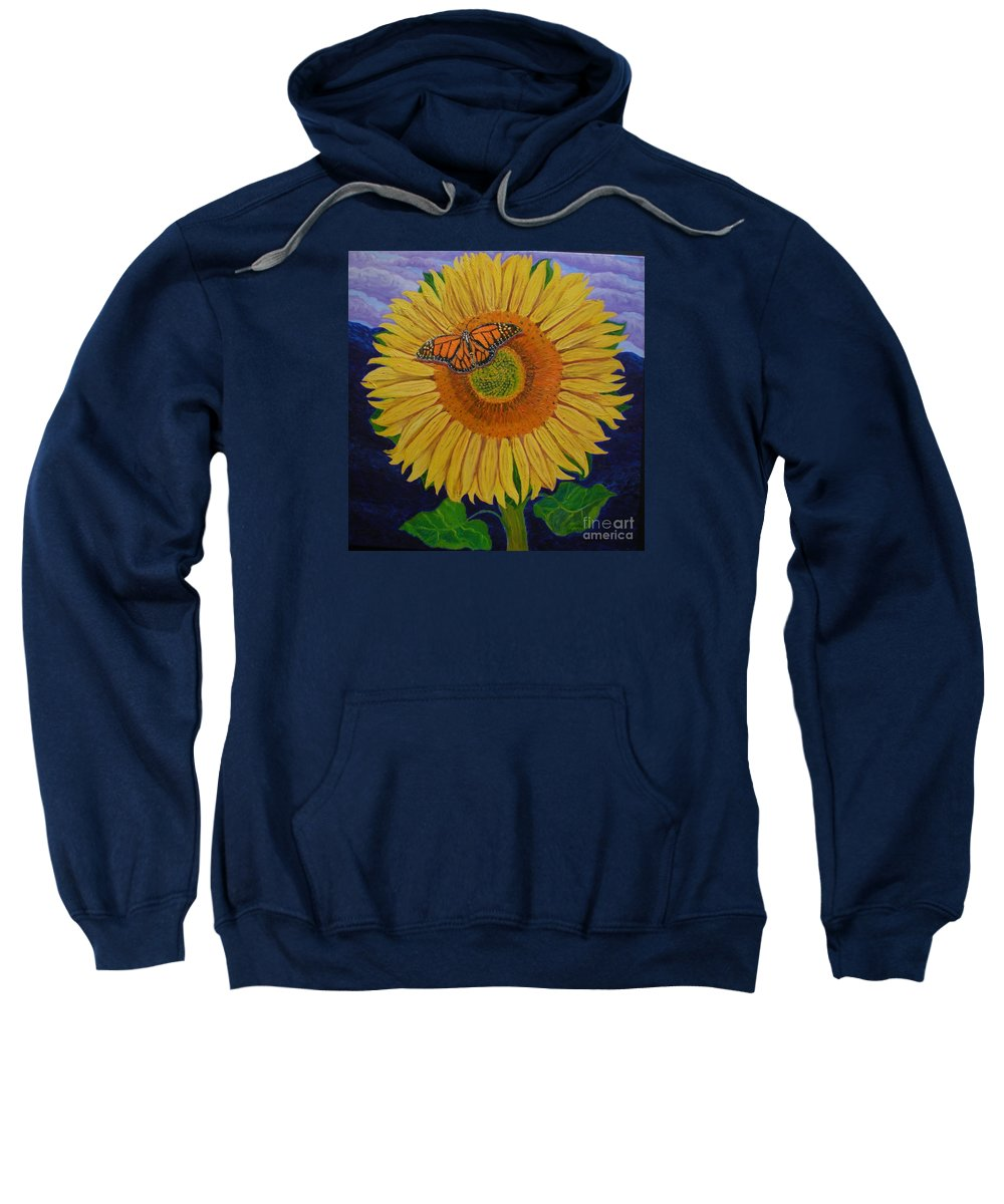 Sunflower Sweatshirt featuring the painting Monarch's Sunflower by Teresa Marie Staal Cowley