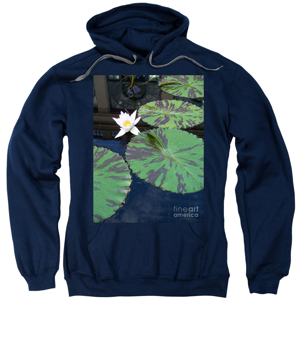 Photograph Sweatshirt featuring the photograph Monet Lilies White by Eric Schiabor