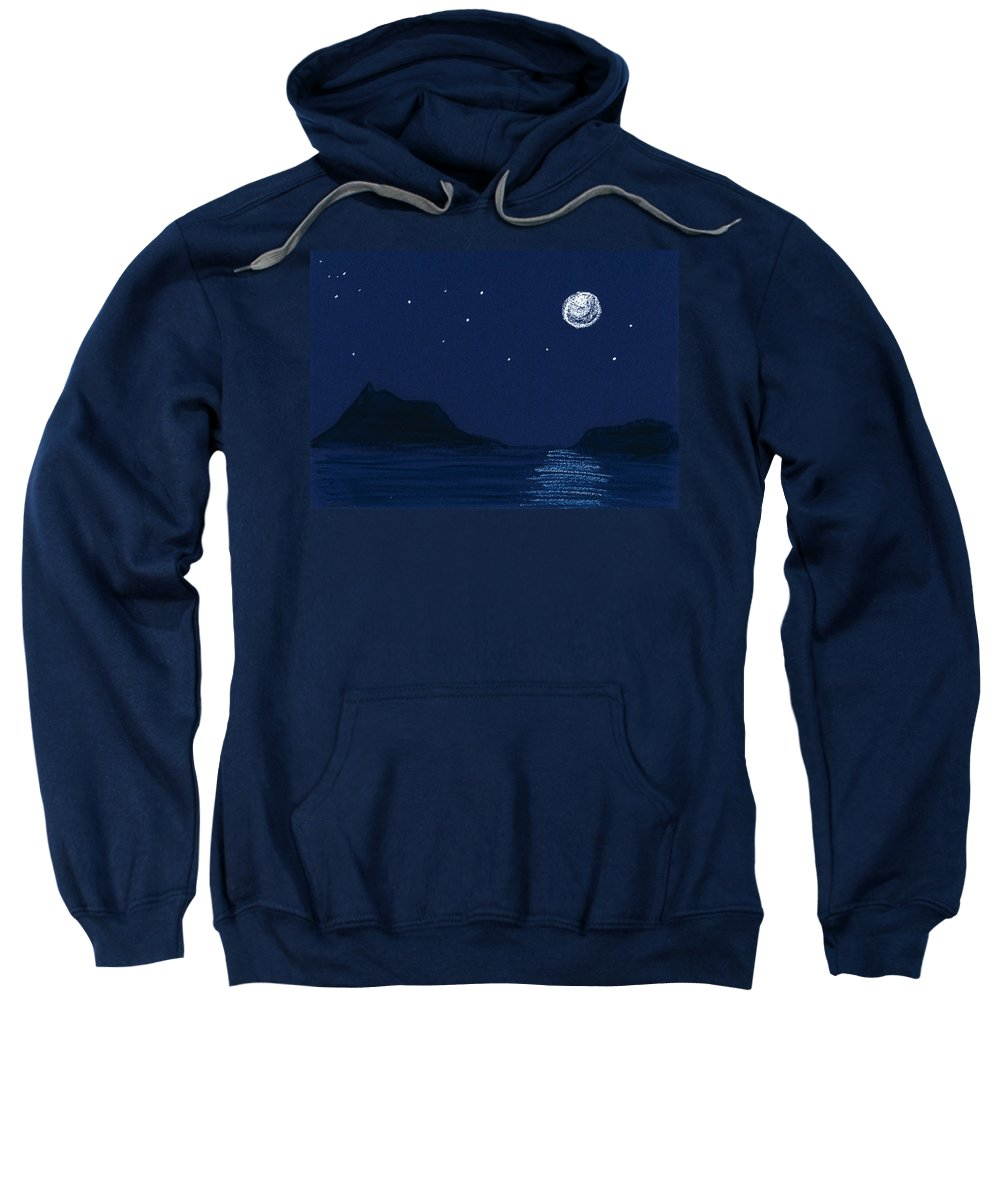 Nature Sweatshirt featuring the drawing Moon On The Ocean by Hakon Soreide