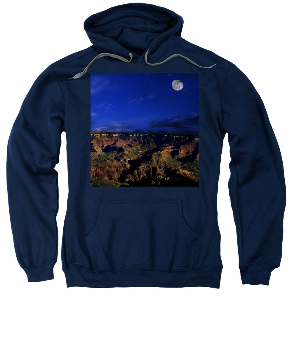 Grand Canyon Sweatshirt featuring the photograph Moon Over The Canyon by Anthony Jones