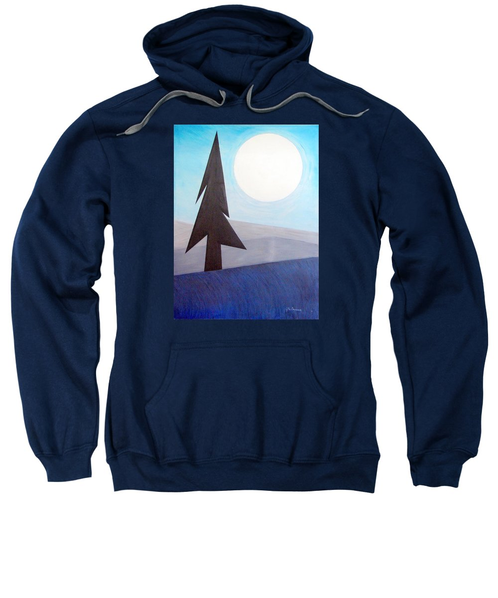 Phases Of The Moon Sweatshirt featuring the painting Moon Rings by J R Seymour