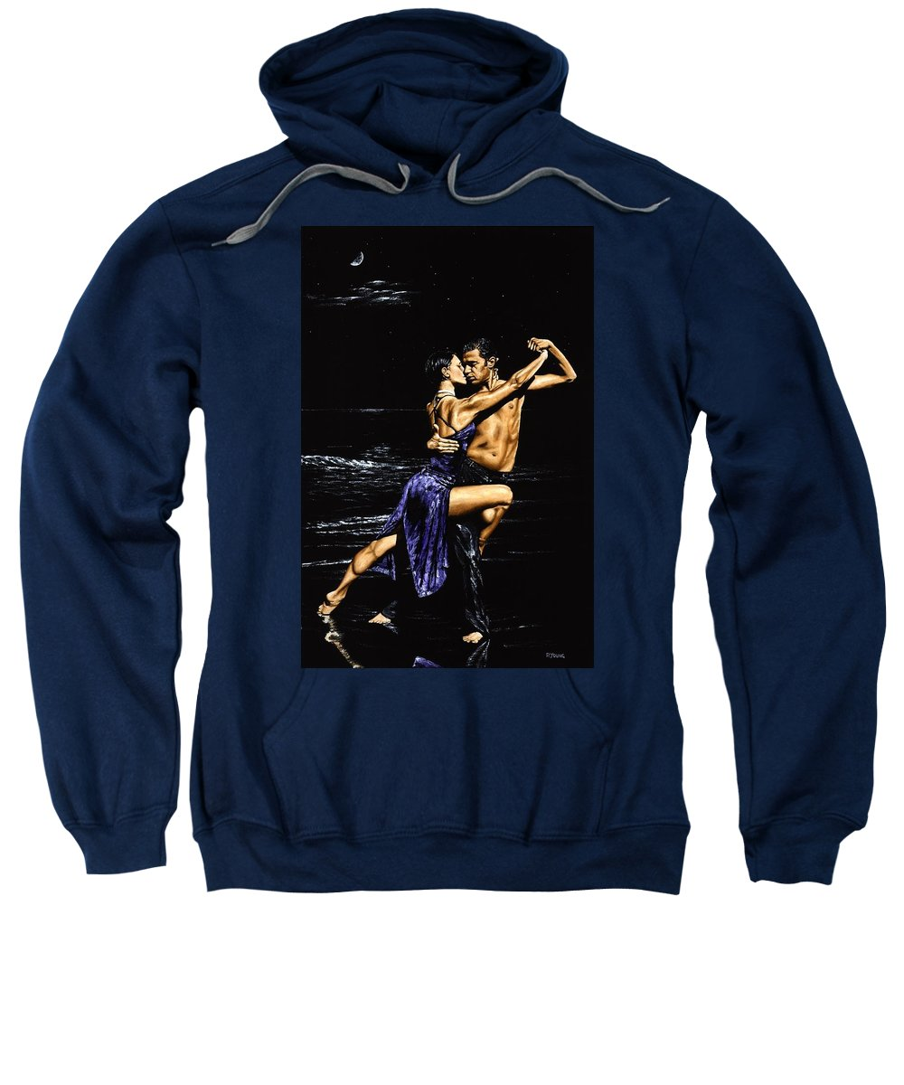 Moonlight Sweatshirt featuring the painting Moonlight Tango by Richard Young