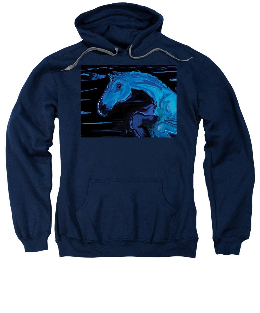 Animal Sweatshirt featuring the digital art Moonlit Run by Rabi Khan