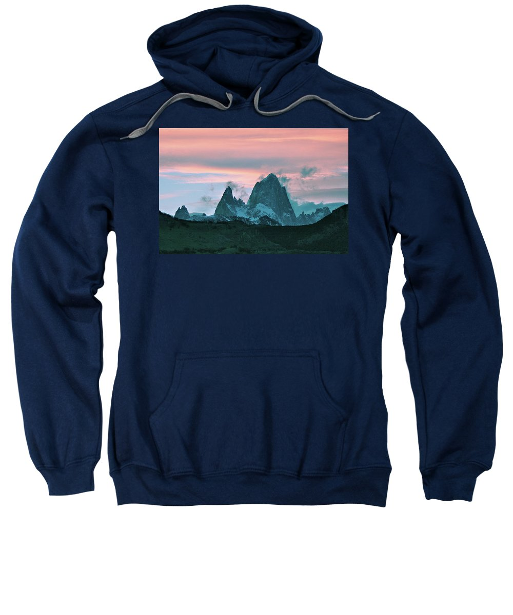 Argentina Sweatshirt featuring the photograph Mount Fitz Roy At Dusk by Fran West