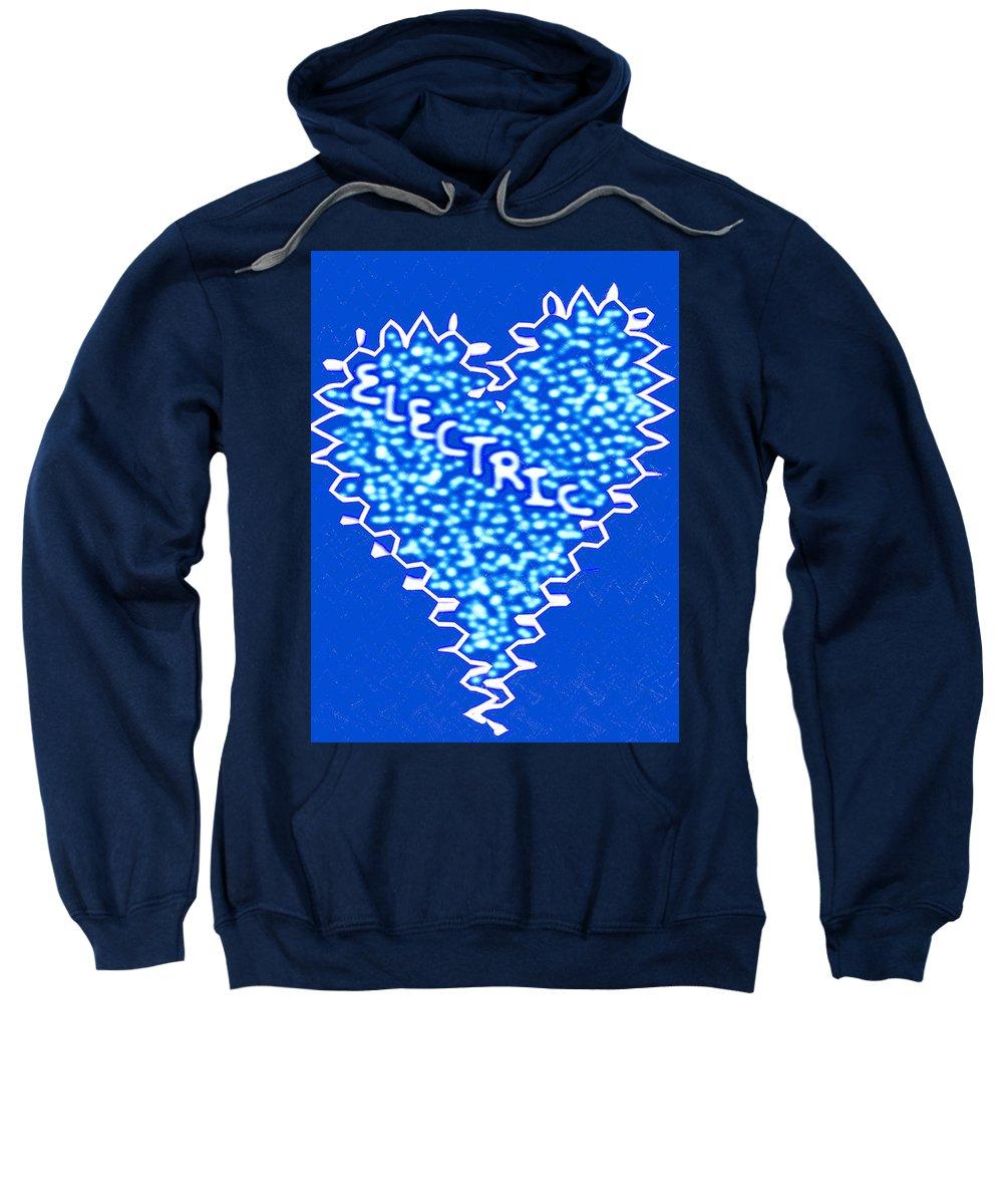 Moveonart! Global Gathering. San Francisco / New York Jacob Kanduch Sweatshirt featuring the digital art Moveonart Electric Blu Heart 1 by Jacob Kanduch