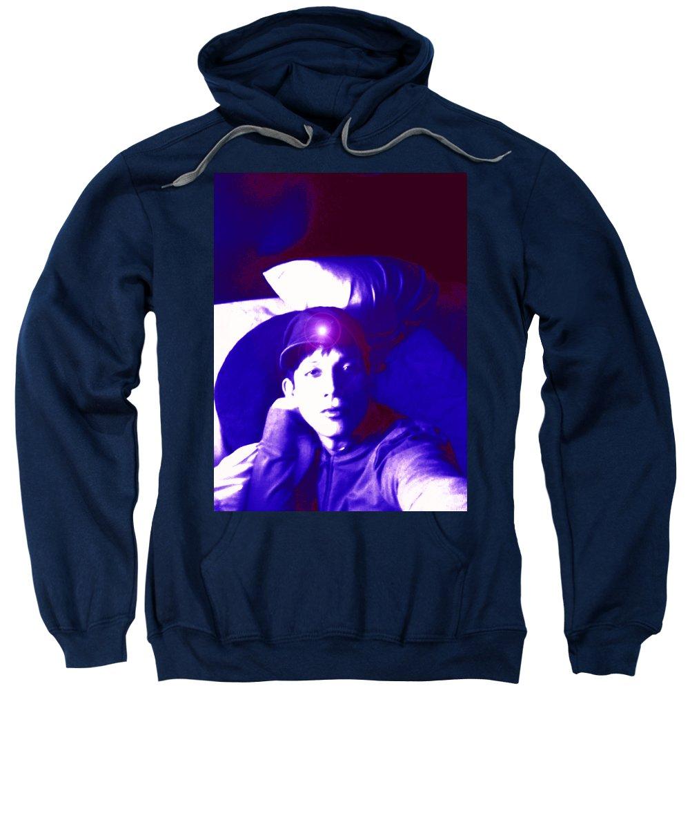 Moveonart! Digital Gallery Sweatshirt featuring the digital art Moveonart Jacob In Blue Light Thinking by Jacob Kanduch