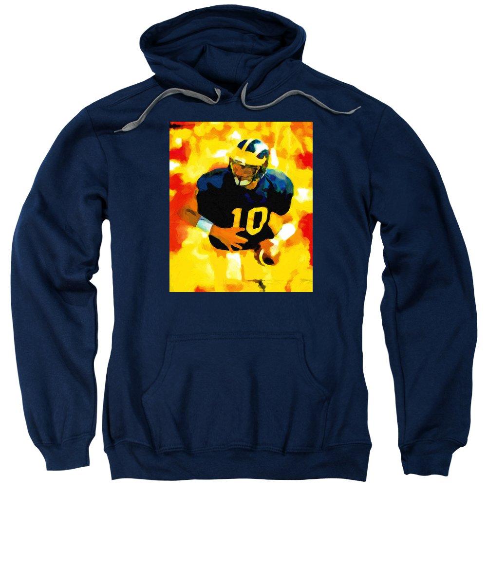 Tom Brady Sweatshirt featuring the painting Mr. Tom Brady by John Farr