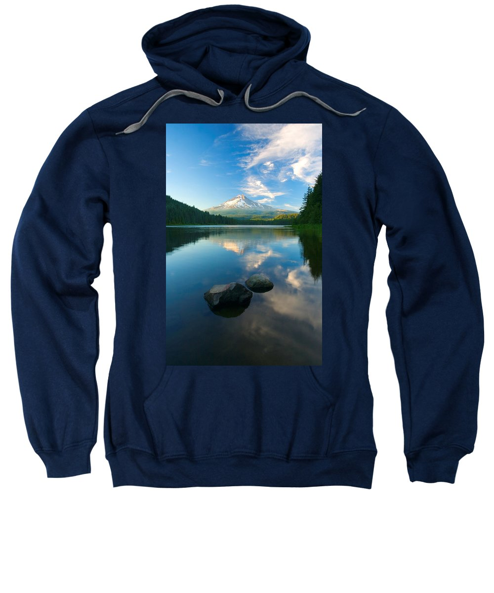 Mt. Hood Sweatshirt featuring the photograph Mt. Hood Cirrus Explosion by Mike Dawson
