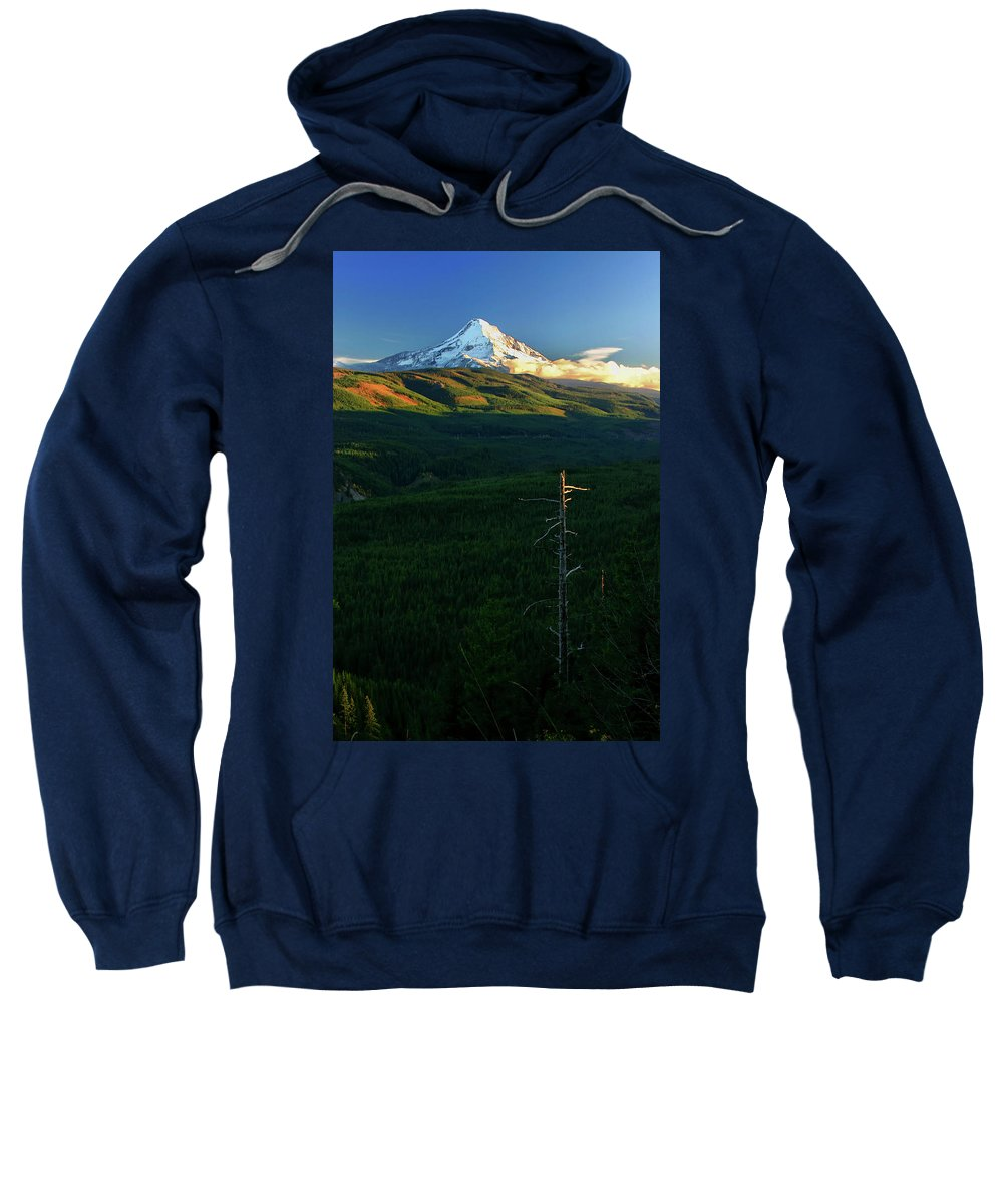Mt Hood Sweatshirt featuring the photograph Mt Hood With Snag by Albert Seger