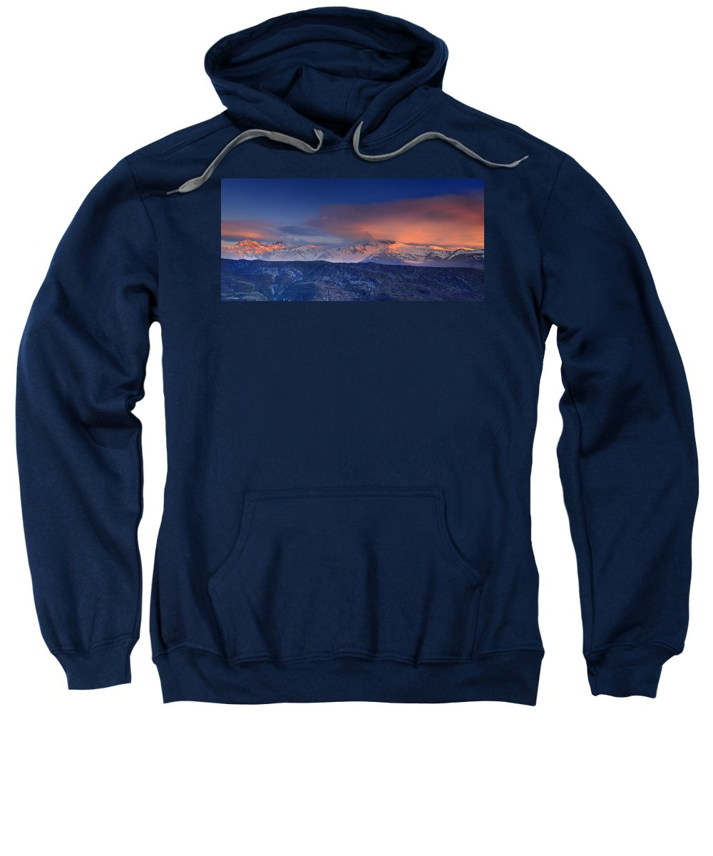Sunset Sweatshirt featuring the photograph Mulhacen And Alcazaba And Veleta Panoramic by Guido Montanes Castillo