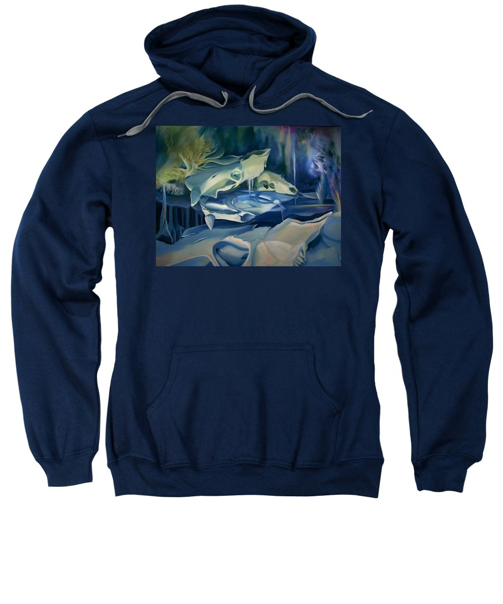 Surreal Sweatshirt featuring the painting Mural Skulls Of Lifes Past by Nancy Griswold