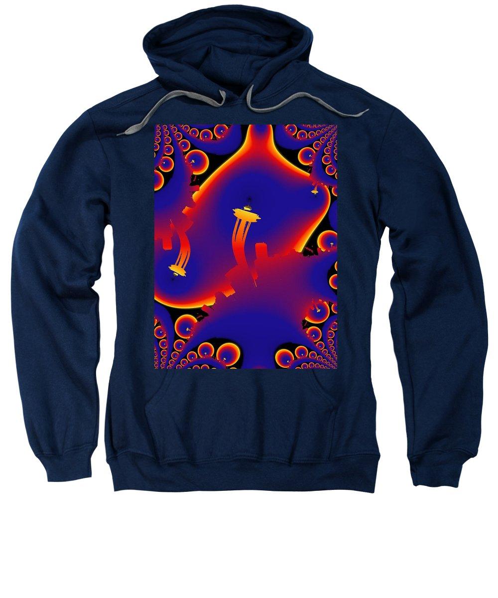 Seattle Sweatshirt featuring the digital art Needle From Kerry Park by Tim Allen