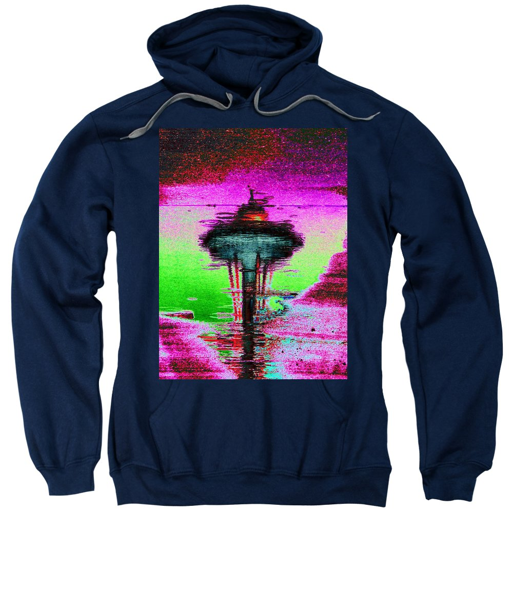 Seattle Sweatshirt featuring the digital art Needle In A Raindrop Stack by Tim Allen