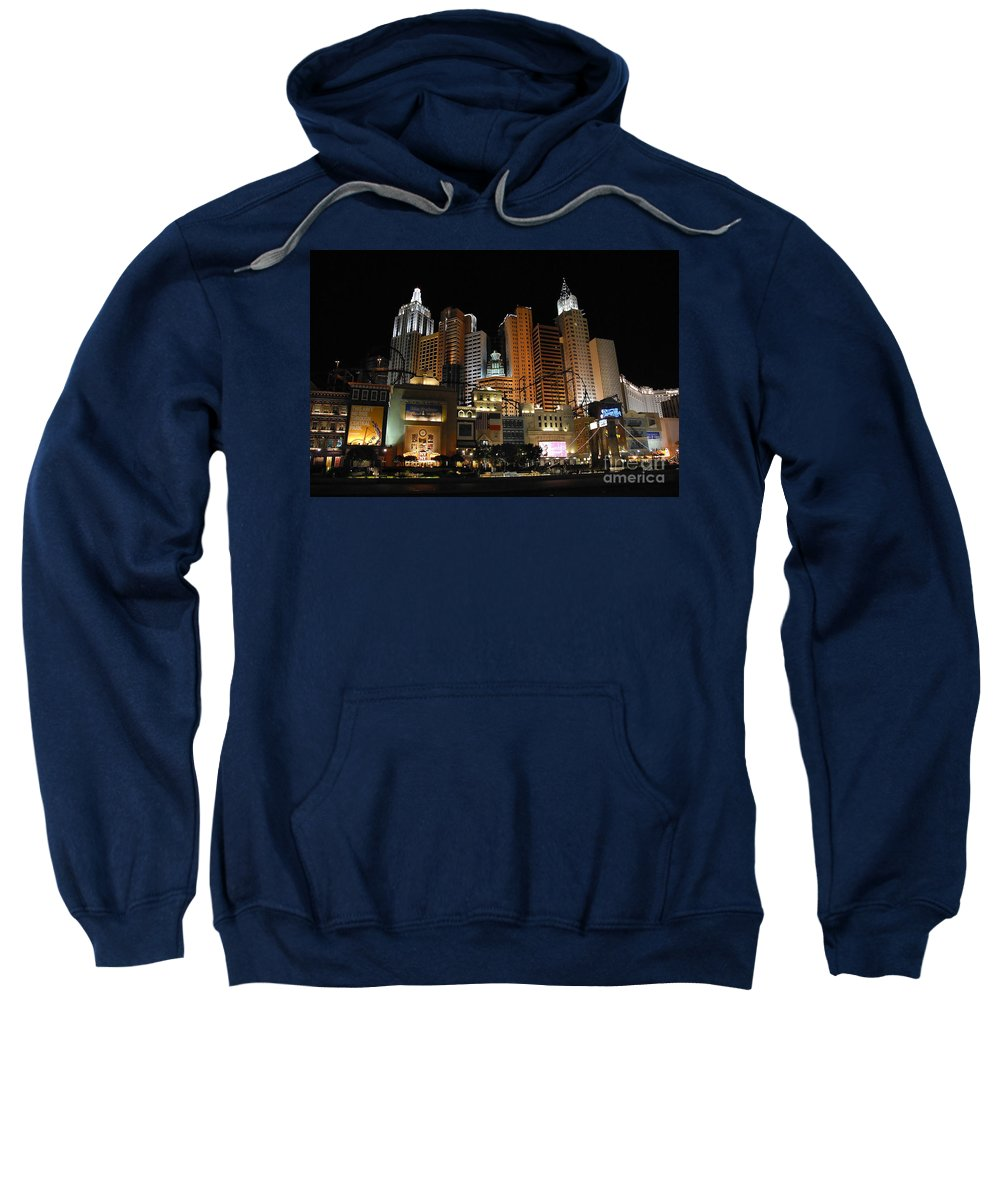 New York Sweatshirt featuring the photograph New York Las Vegas by David Lee Thompson