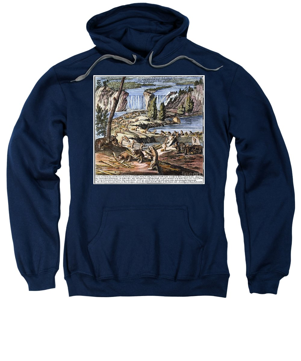 1715 Sweatshirt featuring the photograph Niagara Falls: Beavers, 1715 by Granger