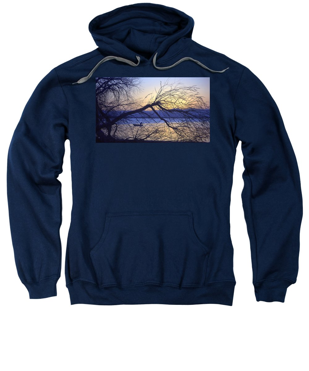 Barr Lake Sweatshirt featuring the photograph Night Fishing In Barr Lake Colorado by Merja Waters