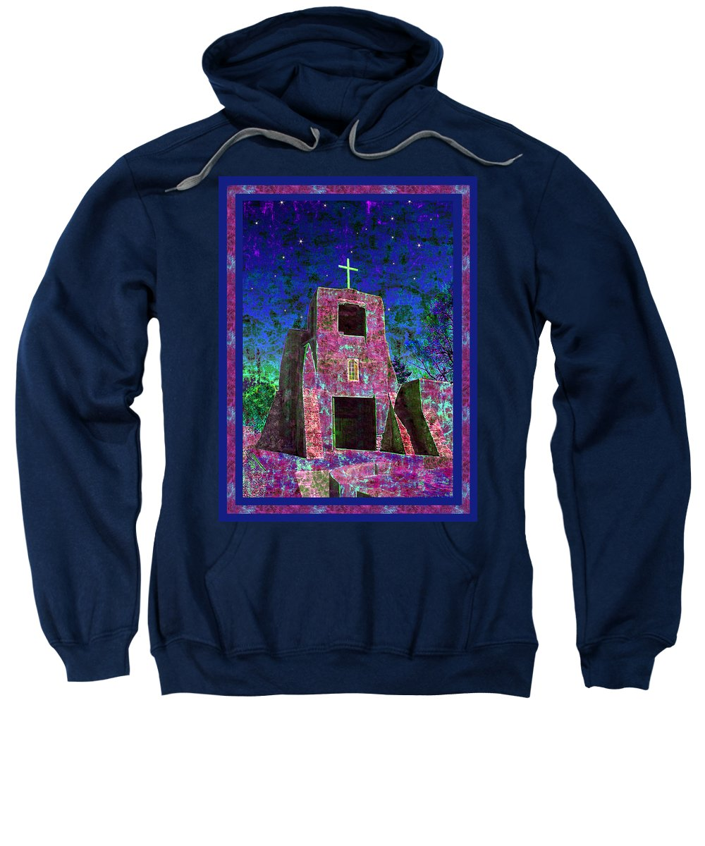 Mission Sweatshirt featuring the photograph Night Magic San Miguel Mission by Kurt Van Wagner