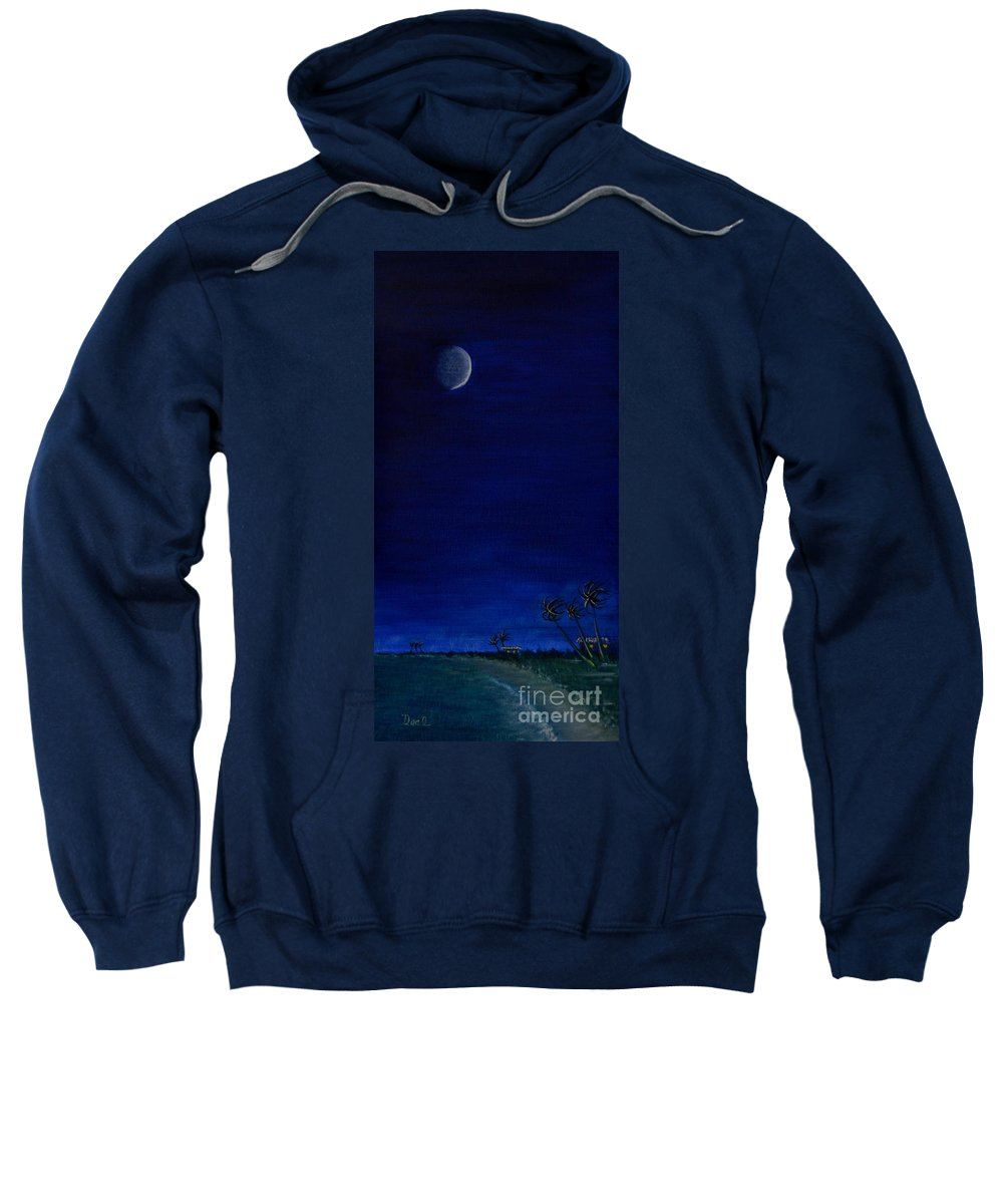 Deep Blue Sweatshirt featuring the painting Night Time At The Beach - 2 by Mary Deal